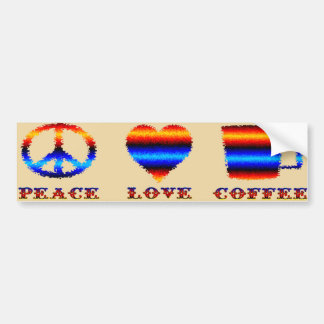 Amor y café de la paz pegatina para auto
