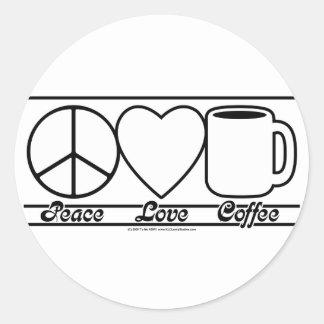 Amor y café de la paz pegatina redonda