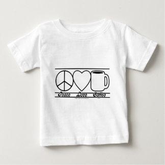 Amor y café de la paz playera de bebé