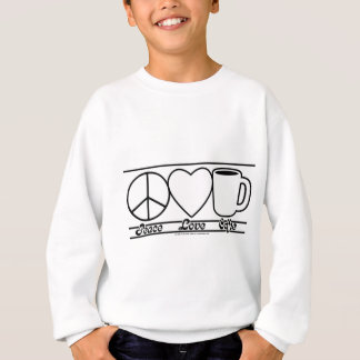 Amor y café de la paz sudadera