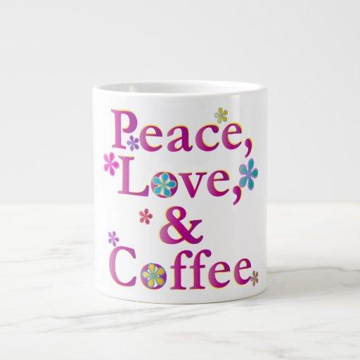 Amor y café de la paz taza grande