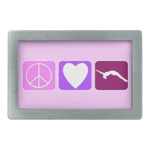 Amor y caída de la paz hebilla de cinturón rectangular