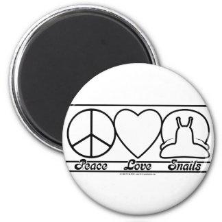 Amor y caracoles de la paz imanes
