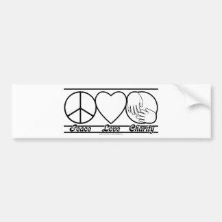Amor y caridad de la paz etiqueta de parachoque