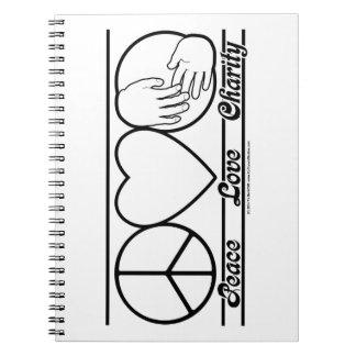 Amor y caridad de la paz libro de apuntes con espiral