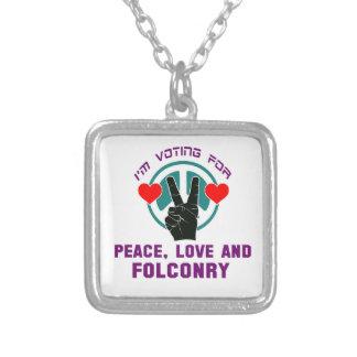 Amor y cetrería de la paz colgante cuadrado
