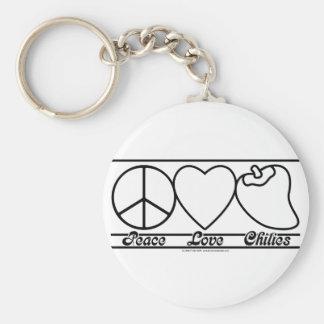 Amor y chiles de la paz llavero redondo tipo pin