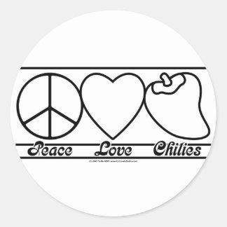 Amor y chiles de la paz pegatina redonda
