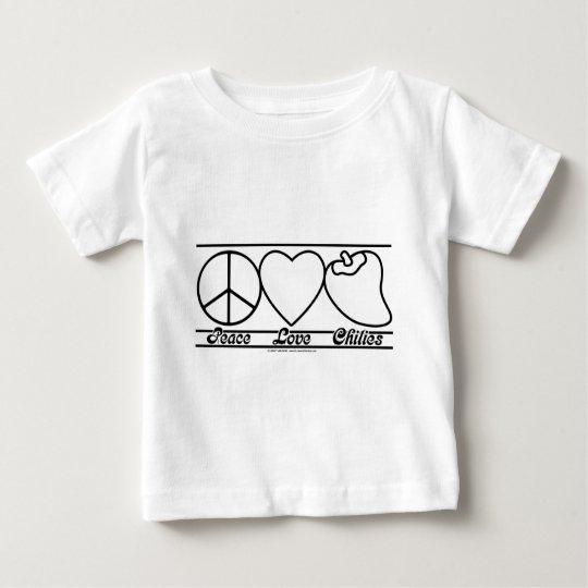 Amor y chiles de la paz playera de bebé