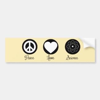 Amor y ciencia de la paz pegatina de parachoque