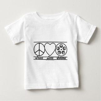Amor y cine de la paz playera de bebé