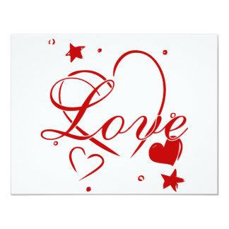 Amor y corazones invitación 10,8 x 13,9 cm