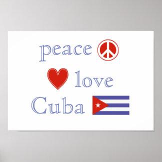 Amor y Cuba de la paz Póster