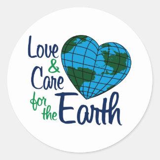 Amor y cuidado para la tierra etiqueta redonda