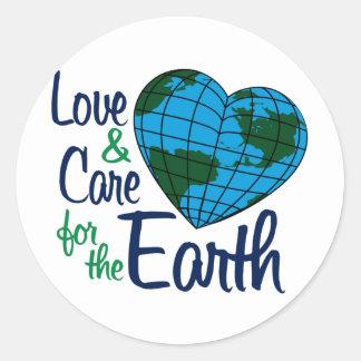 Amor y cuidado para la tierra pegatinas redondas