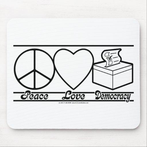 Amor y democracia de la paz tapetes de ratones