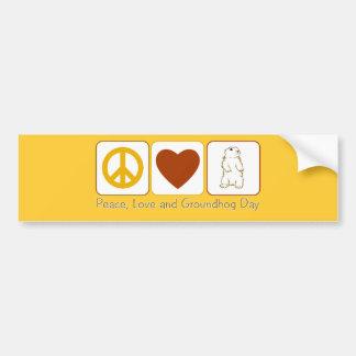 Amor y día de la marmota de la paz etiqueta de parachoque