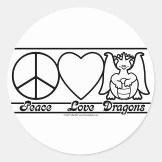 Amor y dragones de la paz etiqueta redonda