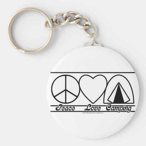 Amor y el acampar de la paz llavero redondo tipo pin