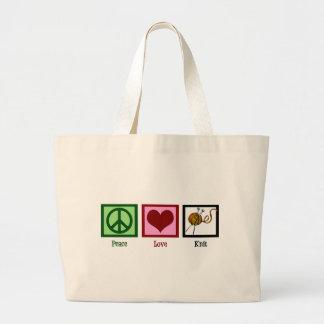 Amor y el hacer punto de la paz bolsa tela grande