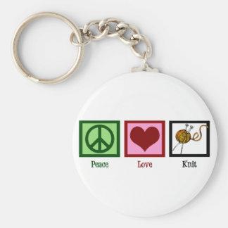 Amor y el hacer punto de la paz llavero redondo tipo pin