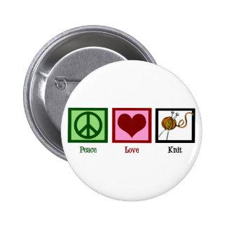 Amor y el hacer punto de la paz pin redondo de 2 pulgadas