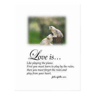 Amor y el piano postal