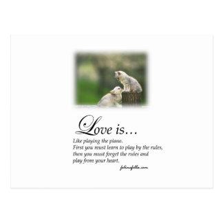 Amor y el piano tarjetas postales