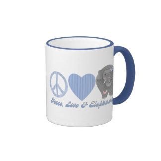 Amor y elefantes de la paz taza de café