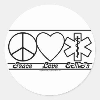 Amor y EMTs de la paz Etiquetas Redondas