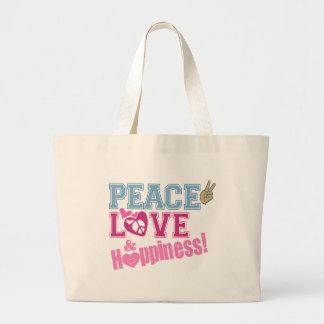 Amor y felicidad de la paz bolsa de tela grande