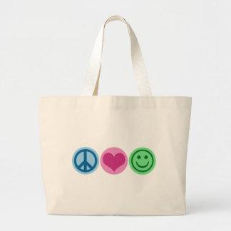 Amor y felicidad de la paz bolsas