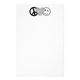 Amor y felicidad de la paz inmóviles papeleria de diseño