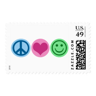 Amor y felicidad de la paz sello postal