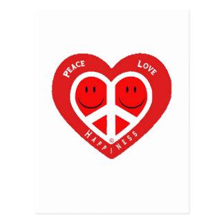 Amor y felicidad II de la paz Tarjeta Postal