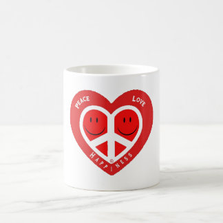 Amor y felicidad II de la paz Tazas De Café