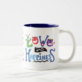 Amor y felicidad tazas de café