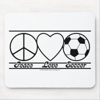 Amor y fútbol de la paz tapete de raton