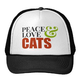 ¡Amor y gatos de la paz! Gorro