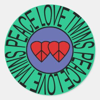 Amor y gemelos - círculo de la paz pegatina redonda