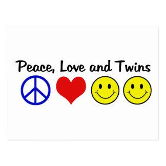 Amor y gemelos de la paz tarjeta postal