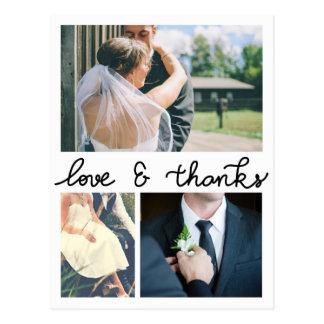 Amor y gracias modernos tres fotos que se casan tarjeta postal