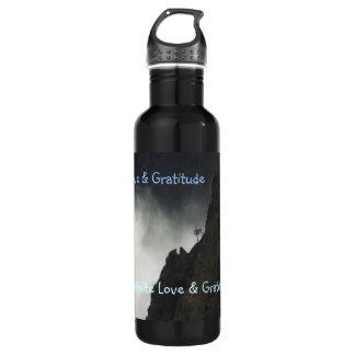 Amor y gratitud de la botella de H2o