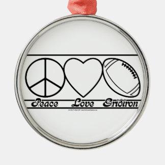 Amor y Gridiron de la paz Ornamentos De Navidad