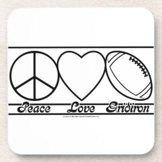 Amor y Gridiron de la paz Posavasos