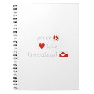 Amor y Groenlandia de la paz Libreta Espiral