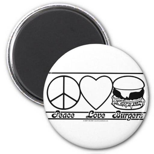 Amor y hamburguesas de la paz imán