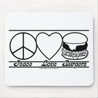 Amor y hamburguesas de la paz mousepad
