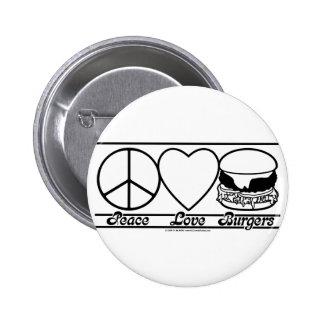 Amor y hamburguesas de la paz pin redondo 5 cm