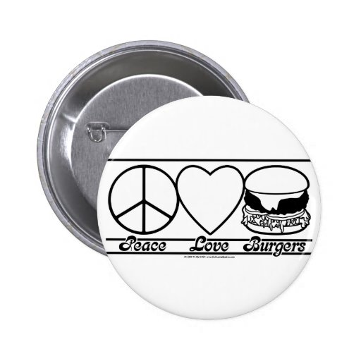 Amor y hamburguesas de la paz pin redondo de 2 pulgadas
